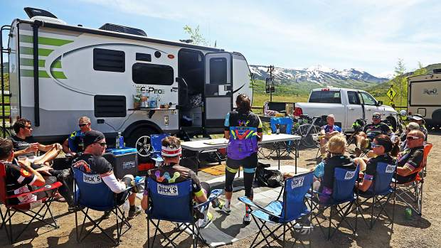 The Wish for Wheels cycling club hosts a hospitality session after Day 3 of Ride the Rockies on Tuesday near the Rodeo Lot in Snowmass Village.