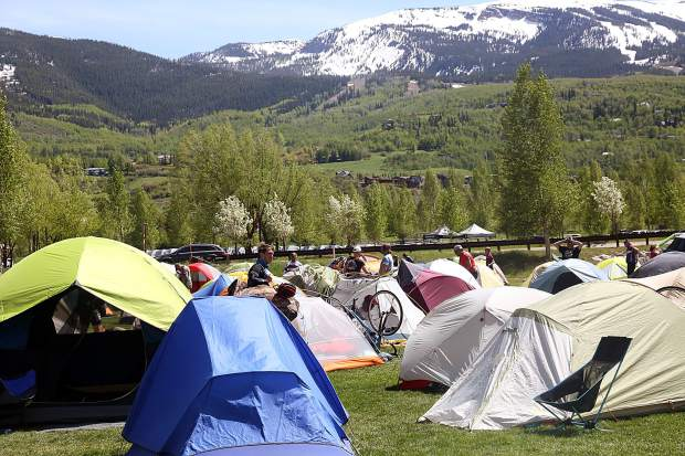 A tent village was erected after Day 3 of Ride the Rockies on Tuesday, June 11, 2019, near the Rodeo Lot in Snowmass Village.