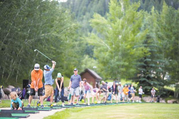 EagleVail Golf Club offers Buckets and Brews during the summer at its driving range.