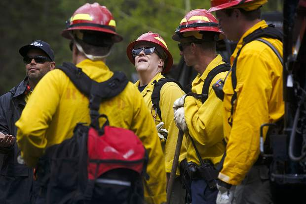 Summit Fire and EMS wildland firefighters train for potential fire dangers Thursday June 20, in the Boulder Creek neighborhood near Silverthorne.
