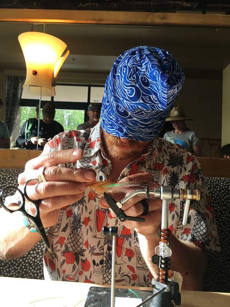 Patrick Duke, of Crested Butte, finished third in the GoPro Mountain Games Costa Fly Tying Competition on Friday in Vail. Judges weren't able to select a winner from the field of 15 after three rounds, so the top 3 competed in a 5-minute blindfolded fly-tying contest to determine the winner.