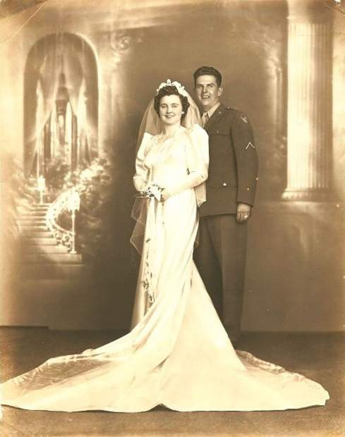My grandfather Charles Beissel is seen here with my grandmother Teresa Beissel on their wedding day in 1943.