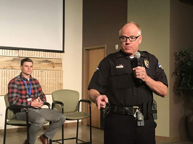 Breckenridge Police Chief Jim Baird walks aroud play shooting audience members, hoping to highlight the amount of time it can take for law enforcement to respond to active shooter situations.