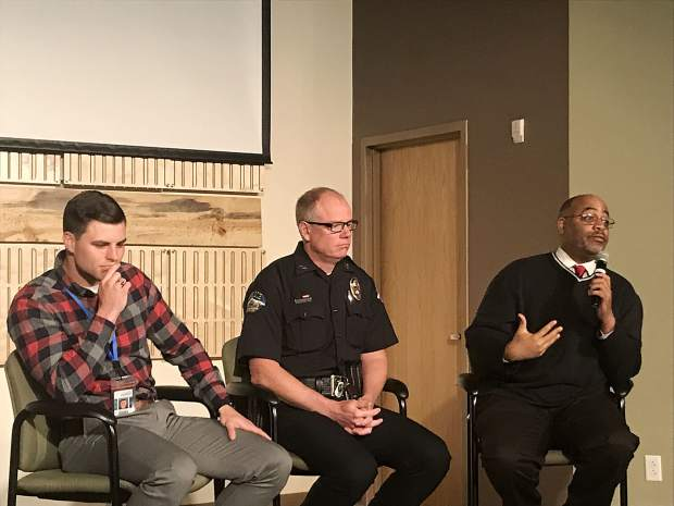From left to right: Summit School District safety and security manager Aaron Quirk, Breckenridge Police Chief Jim Baird and Colorado Council of Churches executive director Adrian Miller participate in a panel on gun violence on Sunday, June 9 at the Colorado Mountain College campus in Breckenridge.