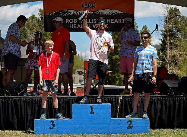 The top overall male finishers for Robbie's Run 5K at the fourth annual Rob Millisor Heart Health Walk were Kyle Brochu in first, Mike Trujillo in second and Zander Reid in third.