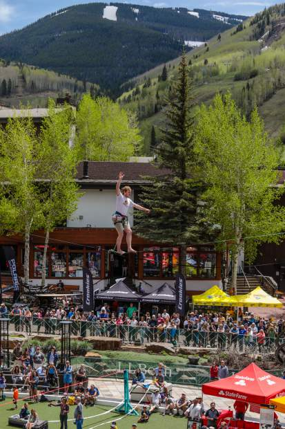 Caleb Beavers competes in the first Highline Speed Walking competition for the GoPro Mountain Games on Friday in Vail. Highline is a new event for this year's GoPro Mountain Games.