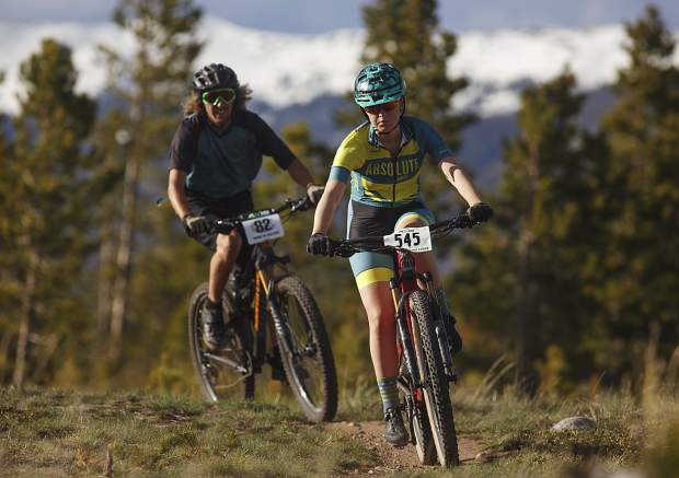 Cassidy Gillis of Salida (front) and Eric Willett of Frisco pedal on the Frisco Peninsula Recreation Area trails during Thursday's first Summit Mountain Challenge mountian bike series event of the year, the Frisco Roundup. Both Gillis and Willett took second place in their respective age-group divisions, Junior Expert Girls 16-18 and Sport Men 19-34.