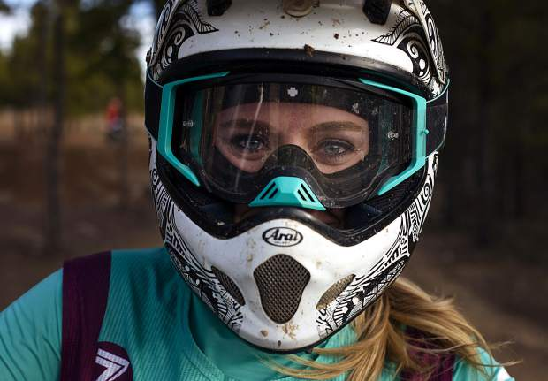Shannatay Bergeron of Vail looks through her dirt-bike helmet during the weekly