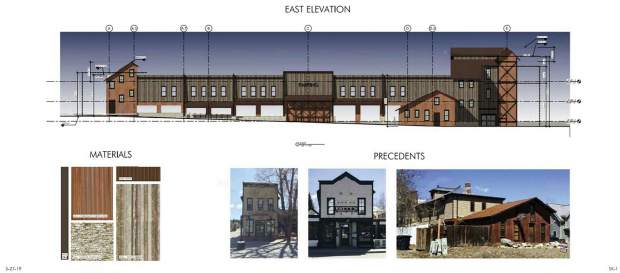 This rending shows how a new parking garage on the South Gondola Lot in downtown Breckenridge could look from its east elevation, along with proposed materials and pictures of what once existed on the site.