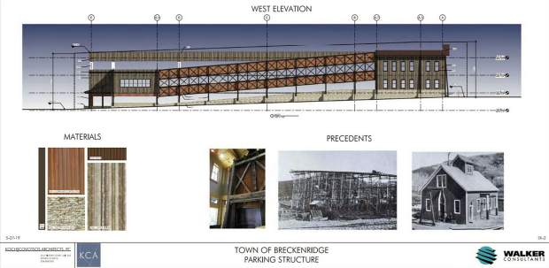 This rending shows how a new parking garage on the South Gondola Lot in downtown Breckenridge could look from its west elevation, along with proposed materials and pictures of what once existed on the site.