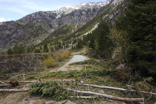 Avalanche debris on the recreational pathway in the Tenmile Canyon Thursday June 13, near Copper Mountain.