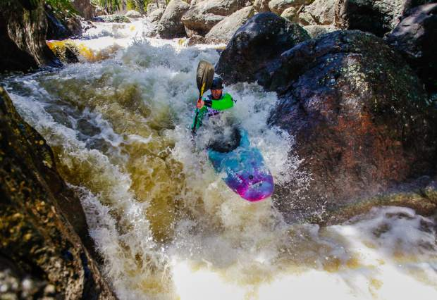 Kayakers compete in the Steep Creek Race for the GoPro Mountain Games Thursdya in Vail. The class-5 waters were a challenge for all competitors.