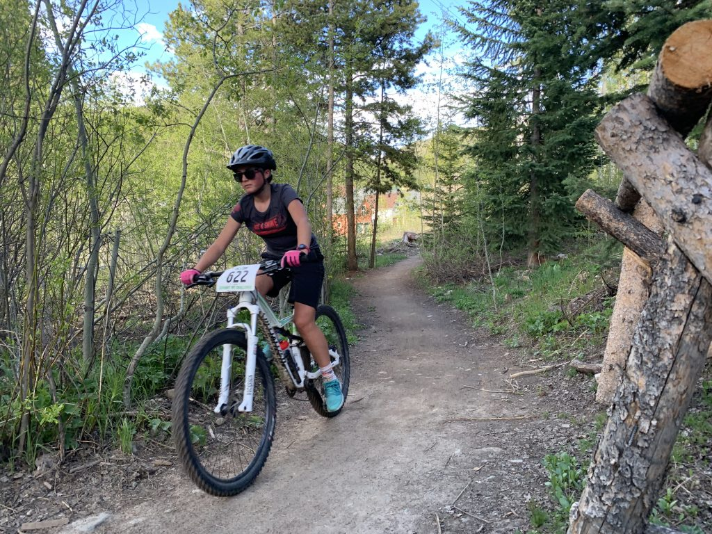 Eva Capozza of Salida rides during Wednesday's second Summit Mountain Challenge mountain-biking event of the season, the Gold Run Rush in the Wellington and Lincoln Park neighborhoods of Breckenridge. Capozza finished in second place in the junior girls 13-15 division with a time of 56:40.