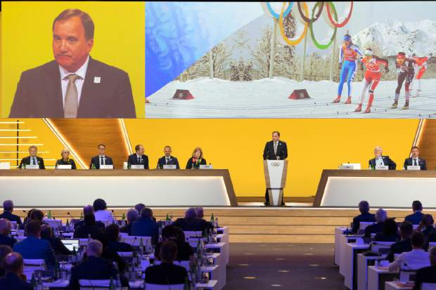 Sweden's Prime Minister Stefan Lofven speaks during the final presentation of the Stockholm-Are candidate cities on the first day of the 134th Session of the International Olympic Committee (IOC), at the SwissTech Convention Centre, in Lausanne, Switzerland on Monday.