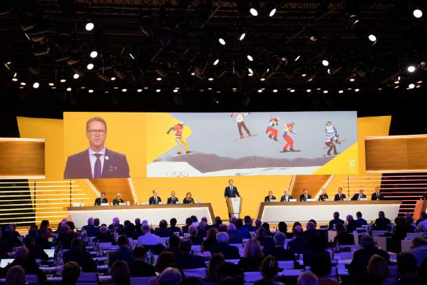 Mats Arjes, president of the Swedish Olympic Committee, speaks during the first day of the 134th Session of the International Olympic Committee (IOC), at the SwissTech Convention Centre, in Lausanne, Switzerland on Monday.