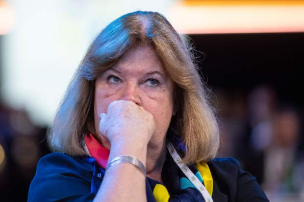 Sweden's IOC Executive Board Member Gunilla Lindberg, member of the candidate for the Olympic Winter Games 2026 Stockholm-Are delegation, reacts as International Olympic Committee president Thomas Bach announces that Milan-Cortina has won the bid to host the 2026 Winter Olympic Games.