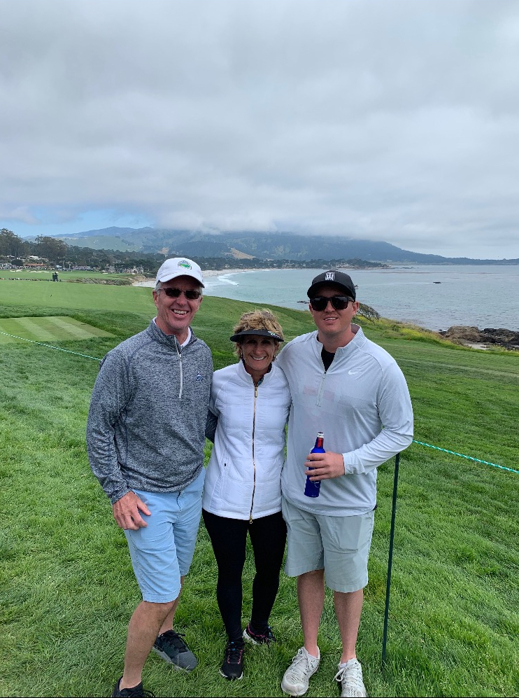 Longtime Breckenridge Golf Club pro Erroll Miller, his wife Sue and his son Sean pose for a photo last weekend while attending the U.S. Open at Pebble Beach Golf Course.