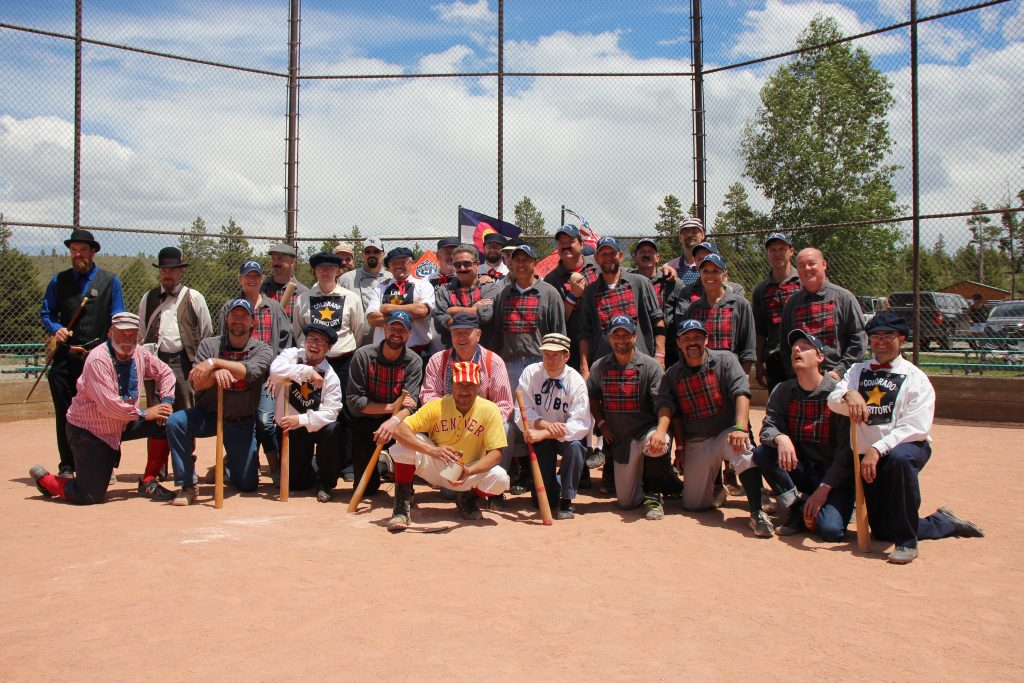 All ballists from both the Summit Sluggers and Star Base Ball Club of the Colorado Territory clubs join together at home plate for a group photo at the Frisco Adventure Park after Saturday's first-ever Summit Historical Society Vintage Base Ball Game. The Sluggers defeated the visiting Star Base Ball Club of the Colorado Territory 19-12 in a 9-inning match.