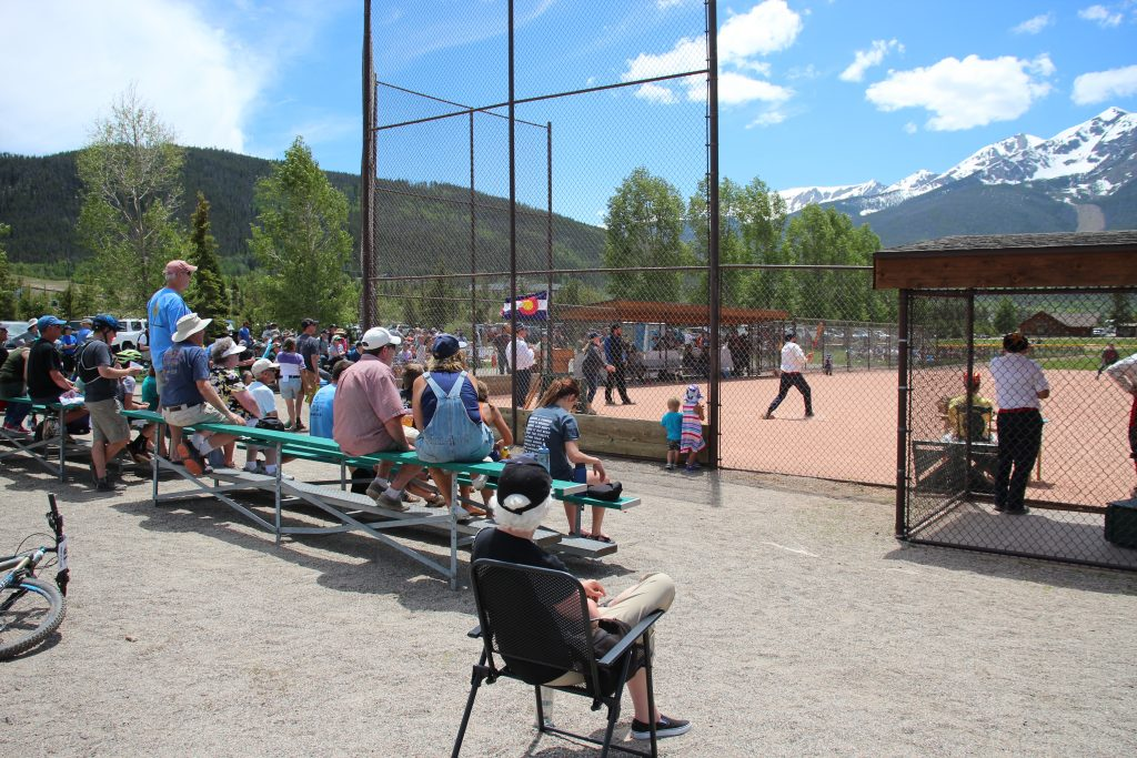The assembled cranks at the Frisco Adventure Park look on on Saturday during the Summit Sluggers' 19-12 triumph over the visiting Star Base Ball Club of the Colorado Territory.