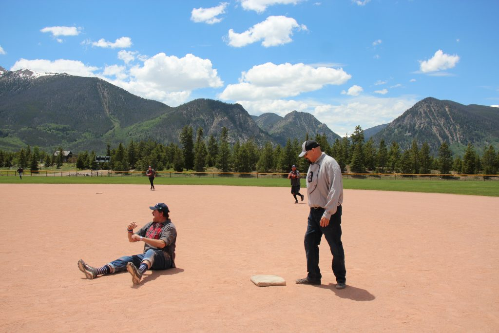 The Summit Sluggers scouting in the inner garden rejoice after making the final hand dead of a 19-12 victory over the visiting Star Base Ball Club of the Colorado Territory on Saturday at the Frisco Adventure Park.