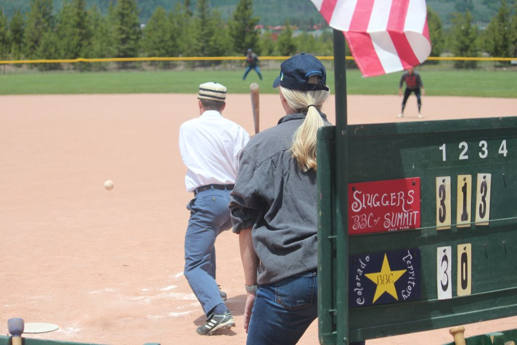 While the Star Base Ball Club of the Colorado Territory strikes, the tally is kept on the tally board at home plate during the Summit Sluggers 19-12 victory on Saturday at the Frisco Adventure Park.