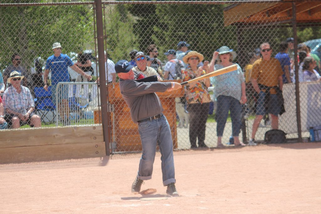 A ballist for the Summit Sluggers knocks a splendid ball back into the garden during the Sluggers' 19-12 match win versus the visiting Star Base Ball Club of the Colorado Territory on Saturday at the Frisco Adventure Park.