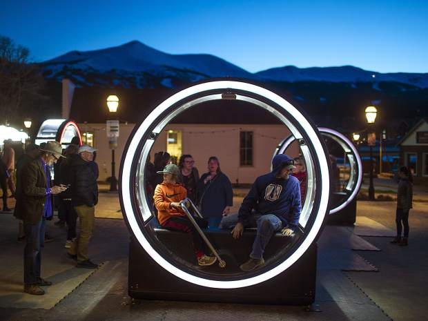 WAVE art festival goers experience the Loop, by artist Ekumen, Friday, May 31, near the Blue River Plaza in Breckenridge.