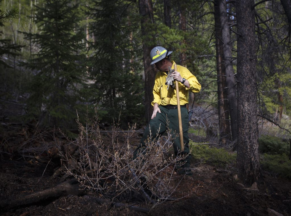 Summit Fire and EMS firefighter Dennis Jackson investigates a burn area from an small ground fire Tuesday, June 11, near Montezuma.