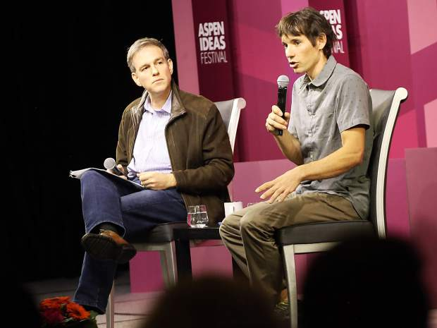 New York Times journalist Bret Stephens, left, chats with climber Alex Honnold during an Aspen Ideas Festival discussion on Monday inside the St. Regis hotel in Aspen.