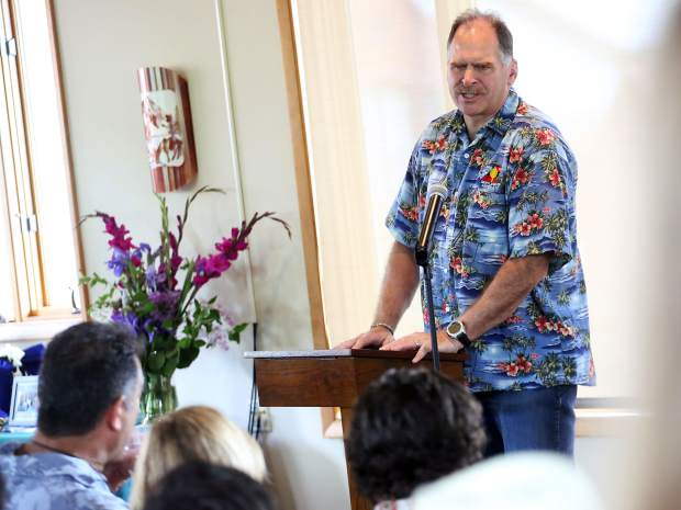 Bo Buck gives a few remarks during the memorial for Jerome Hatem last Monday, June 17 at Mountain Chalet in Aspen.