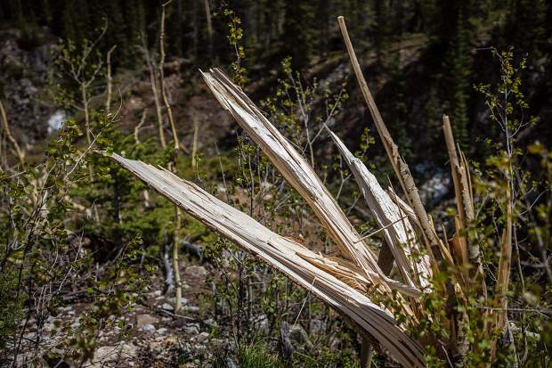 Scenes of avalanche debris near Pearl Pass Road between Aspen and Crested Butte.