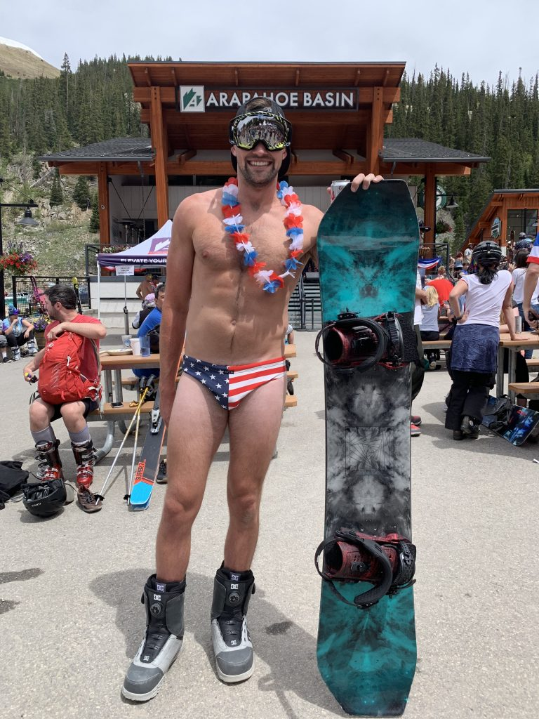 The star-spangled speedo: Mitch Rodrigues, of Austin, Texas