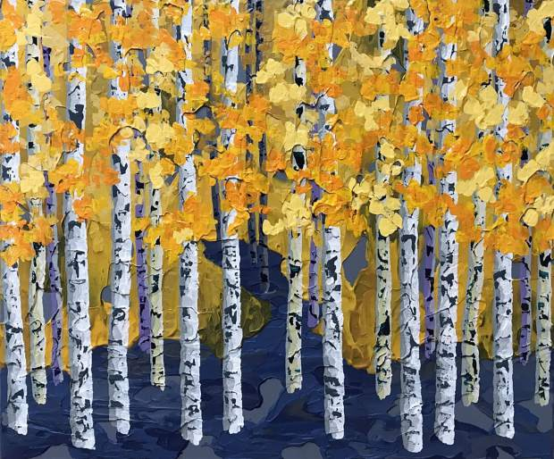 """Colorado painter Gretchen Borgelt will be at the Keystone River Run Village Art Festival this weekend. This painting of """"Willing"""" combines acrylics with gels and samples palette knife technique for the leaves, creating a multitextured effect into the work."""