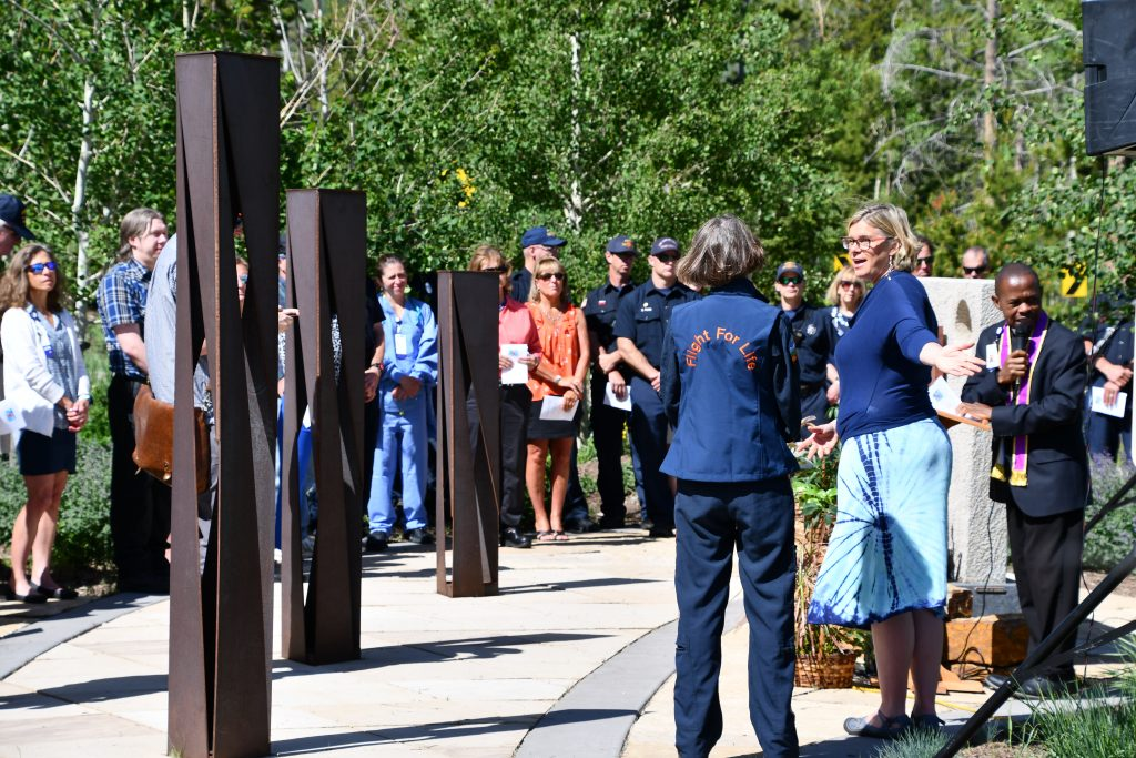 Community members gather at the Mahany Heroes Park outside of St. Anthony Summit Medical Center in Frisco in remembrance of fallen Flight For Life pilot Patrick Mahany on July 3, 2019.