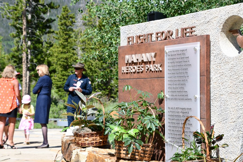 The memorial for Patrick Mahany at the Mahany Heroes Park outside of St. Anthony Summit Medical Center in Frisco on July 3, 2019.