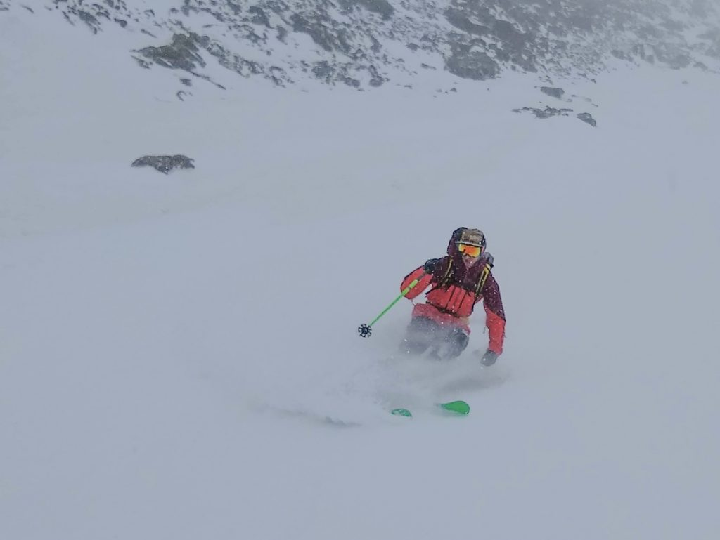 Breckenridge local Teague Holmes skis powder on Grizzly Peak on June 23.