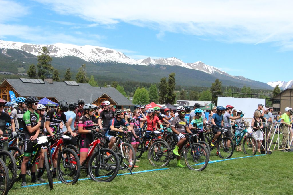 Mountain bikers line up at the Firecracker 50 mountain bike event at Carter Park in Breckenridge on Thursday, July 4.