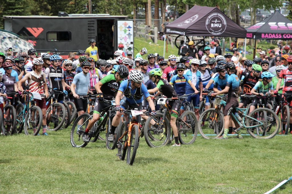 Mountain bikers pedal at the Firecracker 50 mountain bike event at Carter Park in Breckenridge on Thursday.