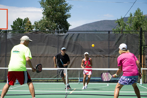 Paul Jones, Bill Clark, Trudy Chaille and Wendy Markley compete in this past weekend's first-ever Pickle in the Peaks pickleball tournament at Rainbow Park in Silverthorne.