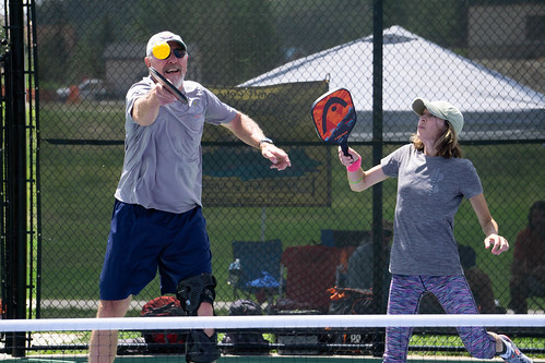 Bob Worthington and Annette Visser play during this past weekend's first-ever Pickle in the Peaks pickleball tournament at Rainbow Park in Silverthorne.