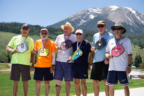 Medal winners from this past weekend's tournament included, from left to right, 3.5 men's doubles medal winners John Bowerman, Tom Stanar, Eric Dargevics, Stan Johnson, Mike Miller and Rick Bell.