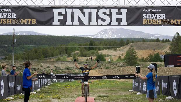 EagleVail cyclist Cristhian Ravelo crosses the finish line at the Leadville Silver Rush mountain biking race on Sunday. Ravelo completed the 50-mile course one minute and six seconds ahead of second-place finisher Jules Goguely of Ogden, Utah.