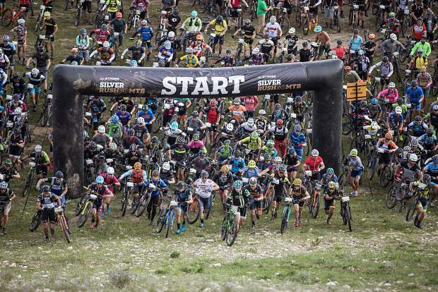 The start of the Leadville Silver Rush mountain biking race on Sunday.