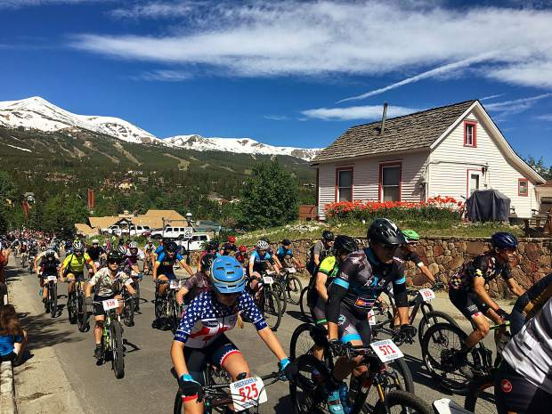 Bike riders take part in the Firecracker 50 race on the Fourth of July in Breckenridge.