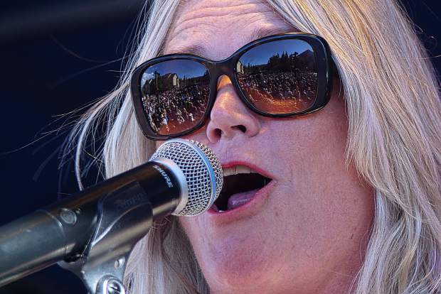 The crowd reflecting off lead singer Cathy Richardson's glasses from Jefferson Starship's Fourth of July show in Frisco.