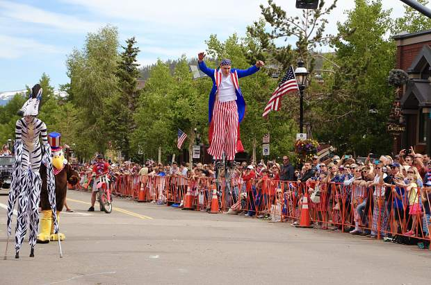 The bouncing stilt man at the Breckenridge Fourth of July parade.