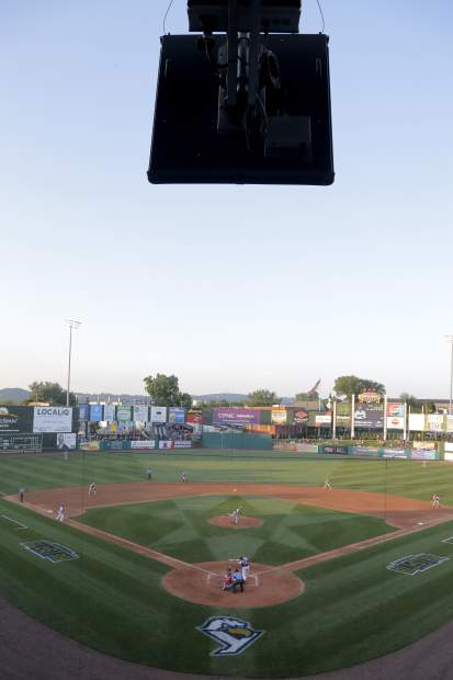 A radar device, top, is seen during second inning action in the Atlantic League All-Star minor league baseball game on Wednesday in York, Pennsylvania.