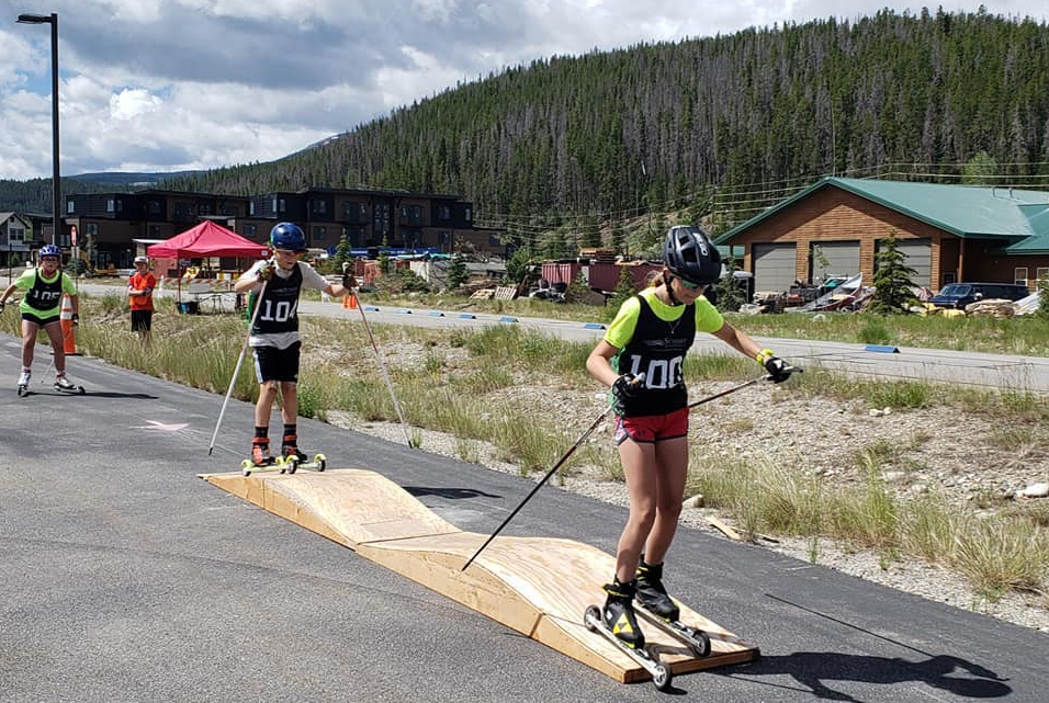 Kiera Stabile (Bib No. 100) and James Sowers (No. 104) race on the agility course during Saturday's Summit Roller Ski Festival in Breckenridge.