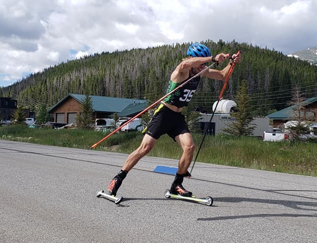 Summit Nordic Ski Club head coach Olof Hedberg competes during Saturday's sprint skate roller-ski race in Breckenridge.