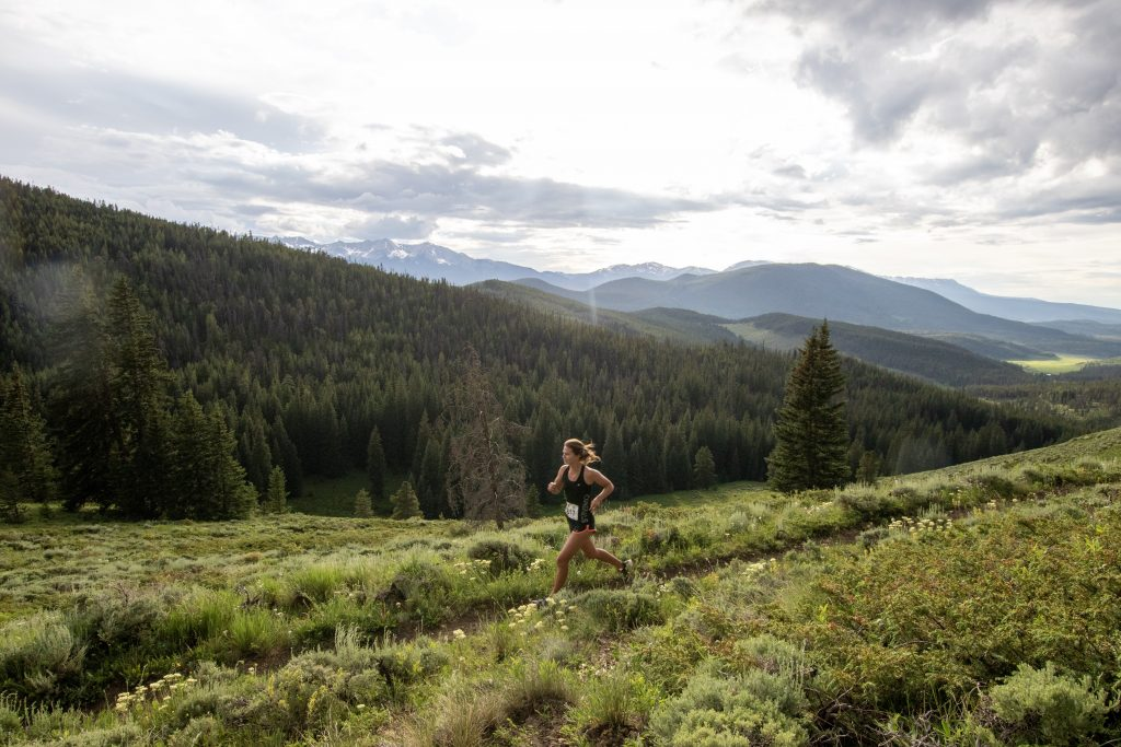 Kacey Doner runs during Wednesday's Horseshoe Gulch 6K/14K, the fourth of six race events in this summer's Summit Trail Running Series. Doner won the women's long course with a time of 1 hour, 14 minutes and 25 seconds, which was 10th overall in the 44-runner long course race.
